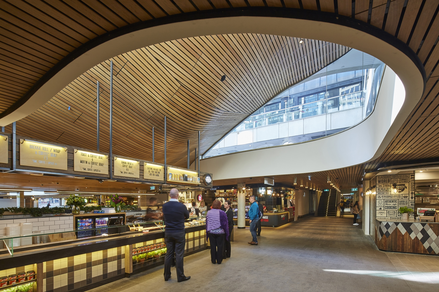 Undulating Slatted Timber Ceiling A Warm And Welcoming