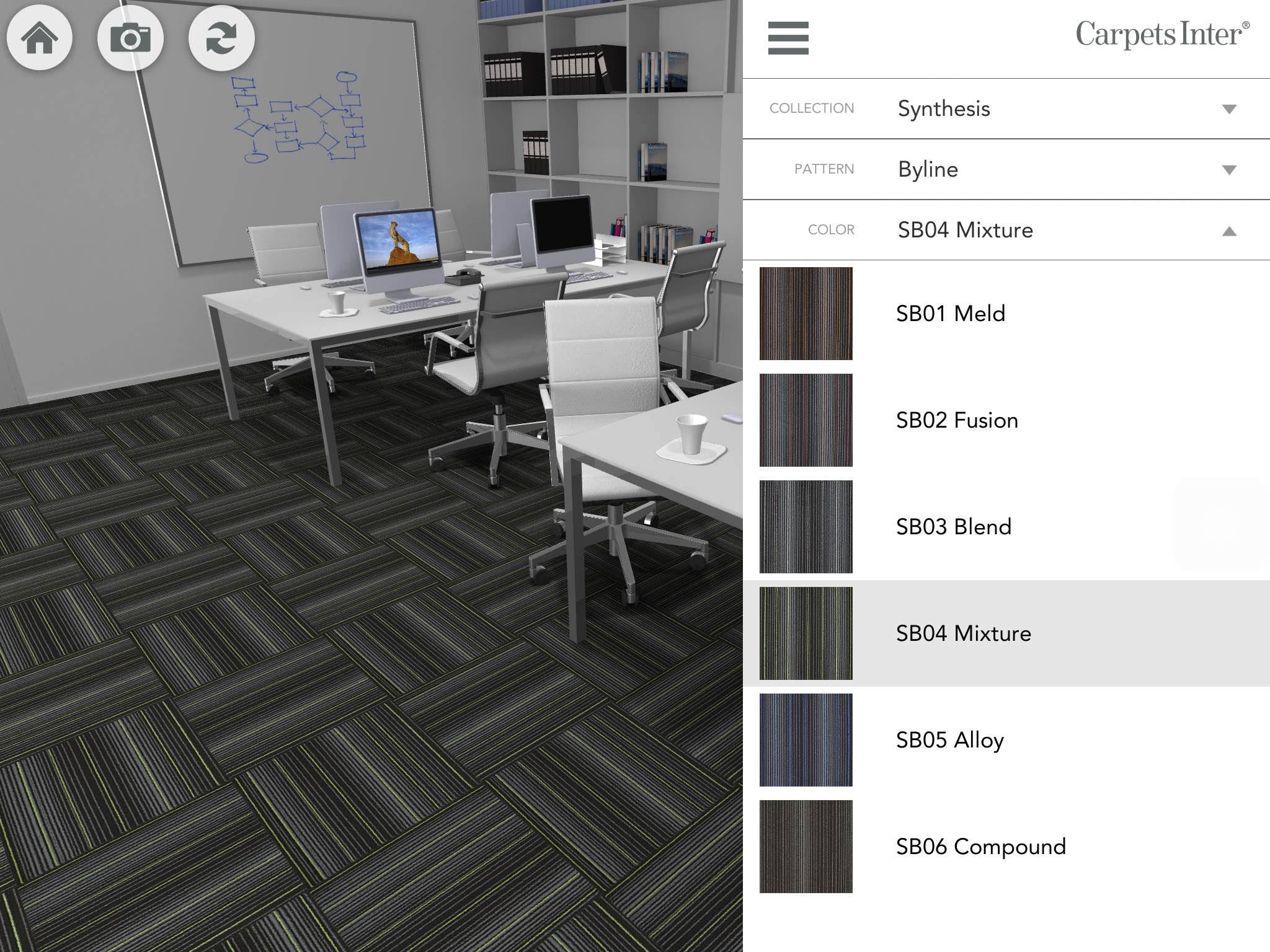 New carpets inter 3d virtual simulator app selector Virtual flooring