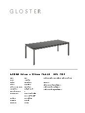 Azore dining table specification sheet