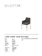 Cloud outdoor lounge specification sheet