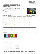 Glass collection specification sheet