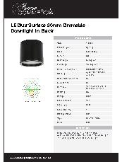 LEDlux Surface 80mm Dimmable Downlight in Black Datasheet