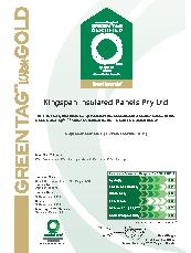 Roof panels Green Tag certificate