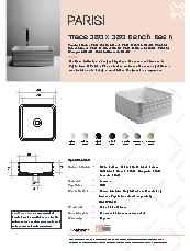 Valdama Trace 380 x 380 Bench Basin Specification Sheet