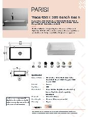 Valdama Trace 650 x 380-Bench Basin Specification Sheet